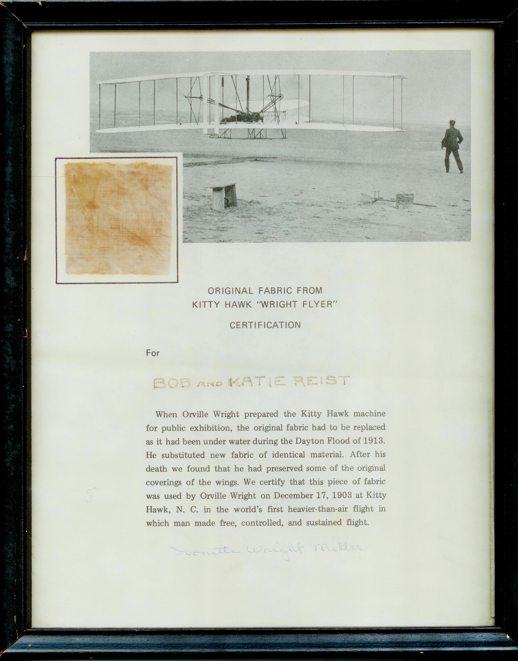 First Flight Kitty Hawk 1903 within lot detail - historic fabric from the wright brothers kitty hawk