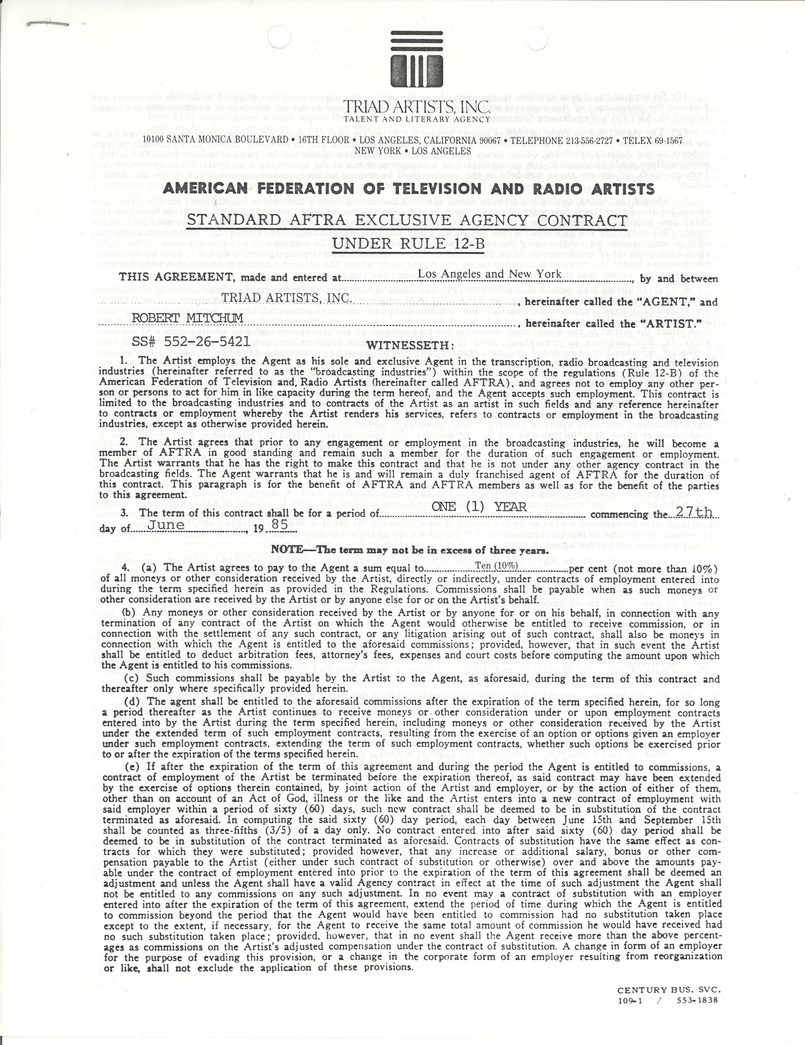 Lot Detail - (6) Entertainment Contracts