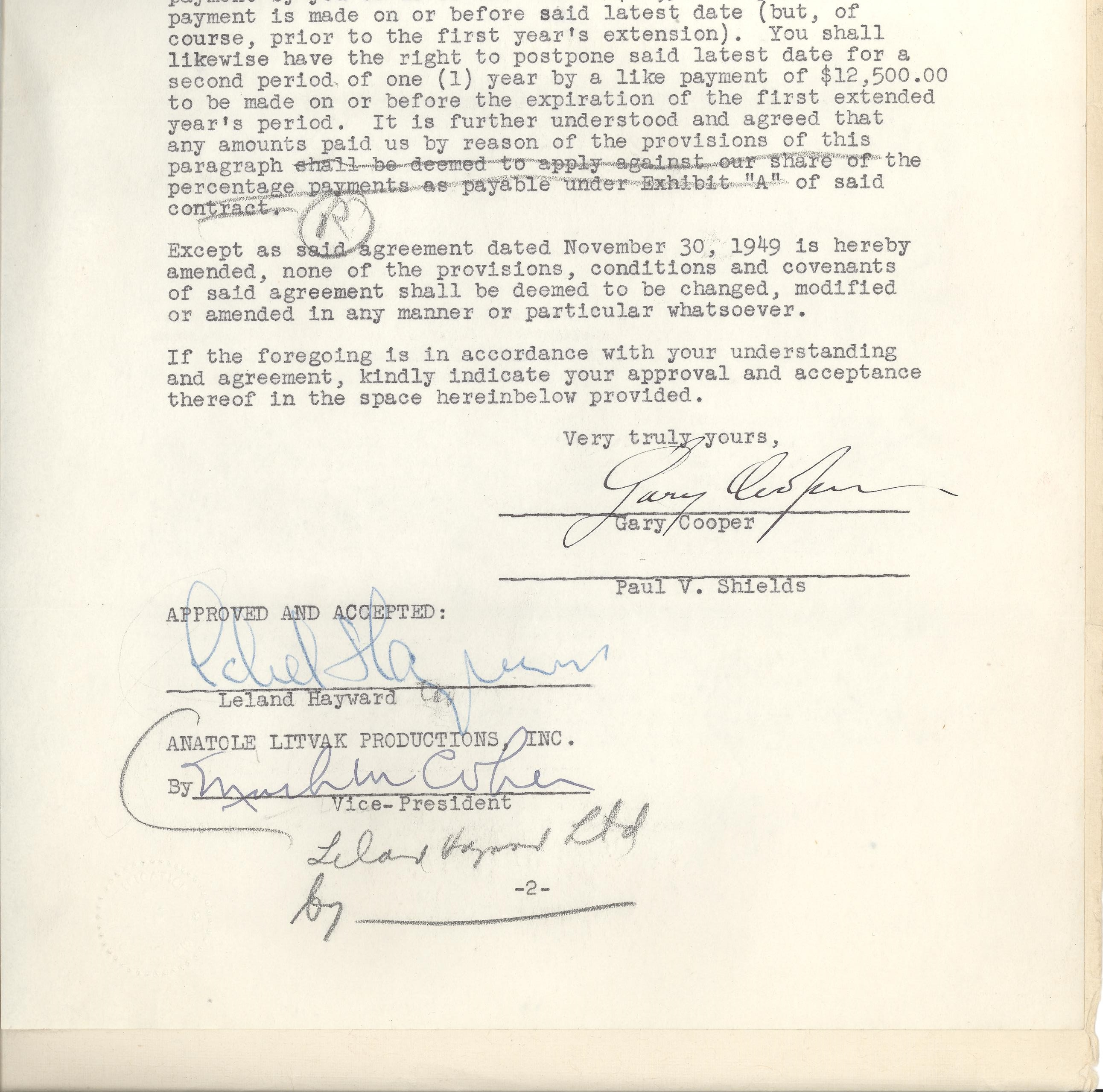Lot Detail Gary Cooper Signed Movie Contract With Anatole Litvak
