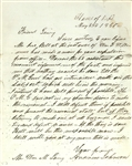 Andrew Johnson Rare Autograph Letter Signed