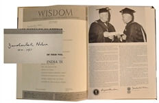 Jawaharlal Nehru signed book of Wisdom