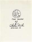 Original Drawing Of Moon Signed By Charlie Duke