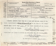 Carolm Lombards Official Death Certificate