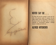 Alfred Hitchcocks Original Famous Profile Sketch and Signature in his book,a Bakers Dozen of Suspense Stories