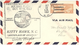 Orville Wright Signed Cover & Milton Wright Archive
