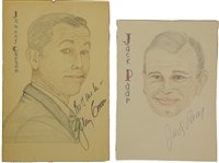 Tonight Shows-Johnny Carson and Jack Parr Signed Original Sketches