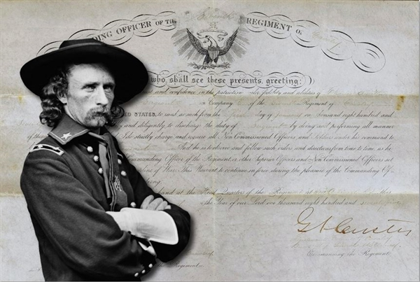 George A. Custer 7th  Calvary Appointment for Sergeant and Archive