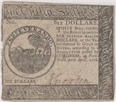 Continental Currency April 11, 1778 $6 Yorktown