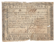 Virginia July 14, 1780 $80 Colonial Currency