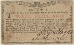 New York Water Works March 5, 1776 4 Shillings