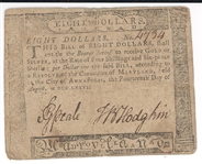 MARYLAND: August 14, 1776, Eight Dollars