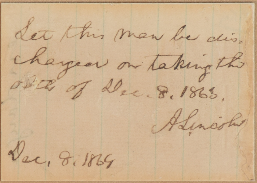 Abraham Lincoln Endorsement for release of Confederate Prisoners