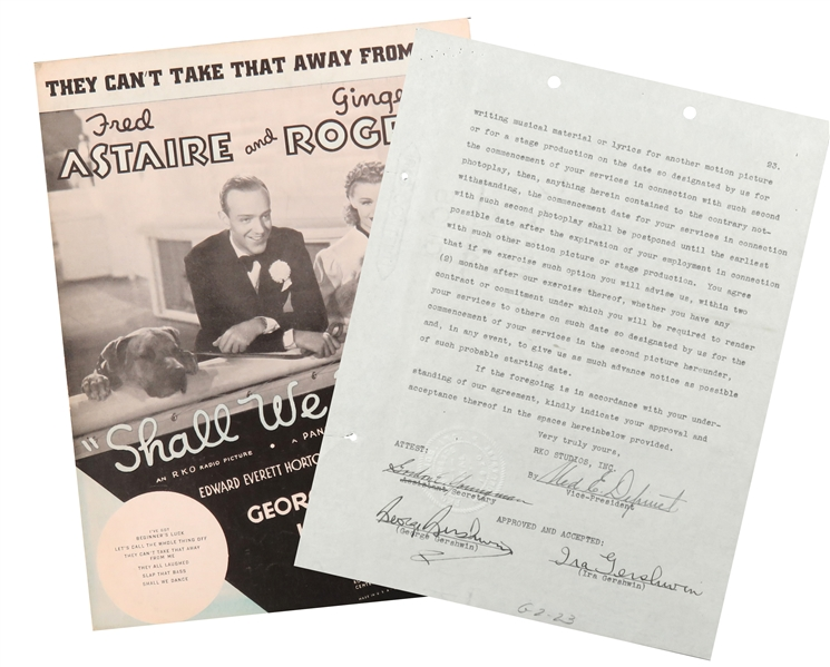 Rare! George & Ira Gershwin signed contract for Shall We Dance