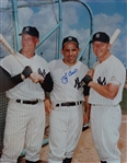 Large Color photo of Yankee Greats Mantle, Maris & Berra signed By Berra