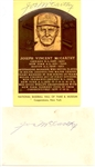 Joe McCarthy Signed Hall Of Fame Postcard