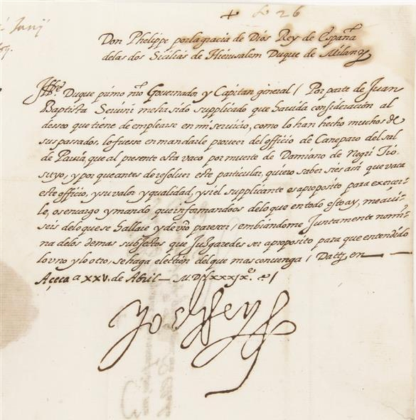 Philip II, King of Spain Signed  Letter
