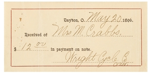 WILBUR WRIGHT SIGNED RECEIPT FROM THE CYCLE COMPANY