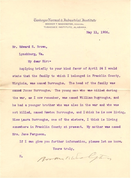 Important-Booker T. Washington Letter about The family who owned him and his mother as Slaves!