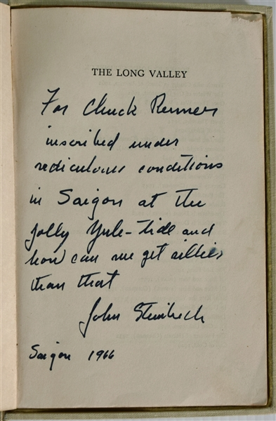 John Steinbeck- Inscribed and Signed at Vietnam in 1966