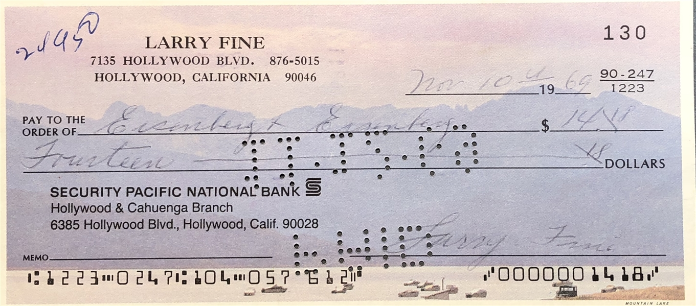 Larry Fine 3 stooges Signed Check