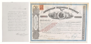 Incredibly clean 1866 American Express Stock Certificate