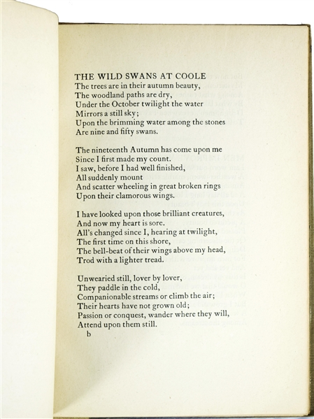 Rare William Butler Yeats Signed The Wild Swans at Coole