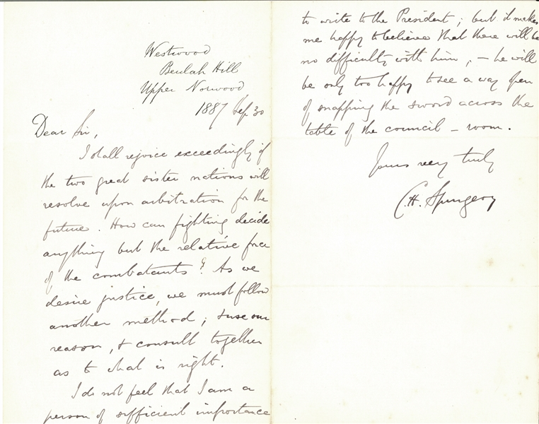 Charles H. Spurgen importance to write to the President