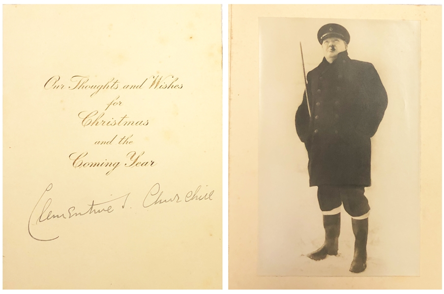 Clementine S. Churchill Signed  Christmas card with original  Winston Churchill Image
