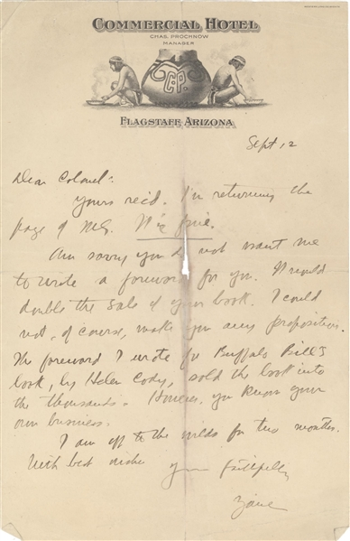 Zane Grey Interesting letter, about Buffalo Bill's book and sales.