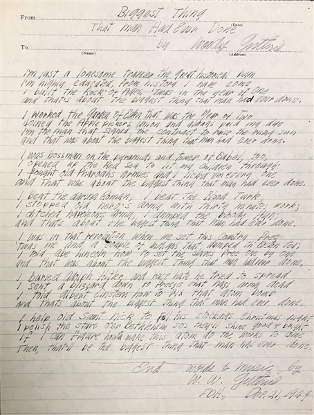 Woody Guthrie Biggest Thing That Man Has Ever Done  original autograph lyrics