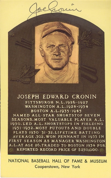 Joe Cronin Signed HOF Card