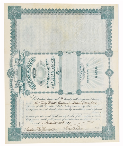 Rare Thomas Edison's Own Stock for  NJ Patent Company Signed Twice