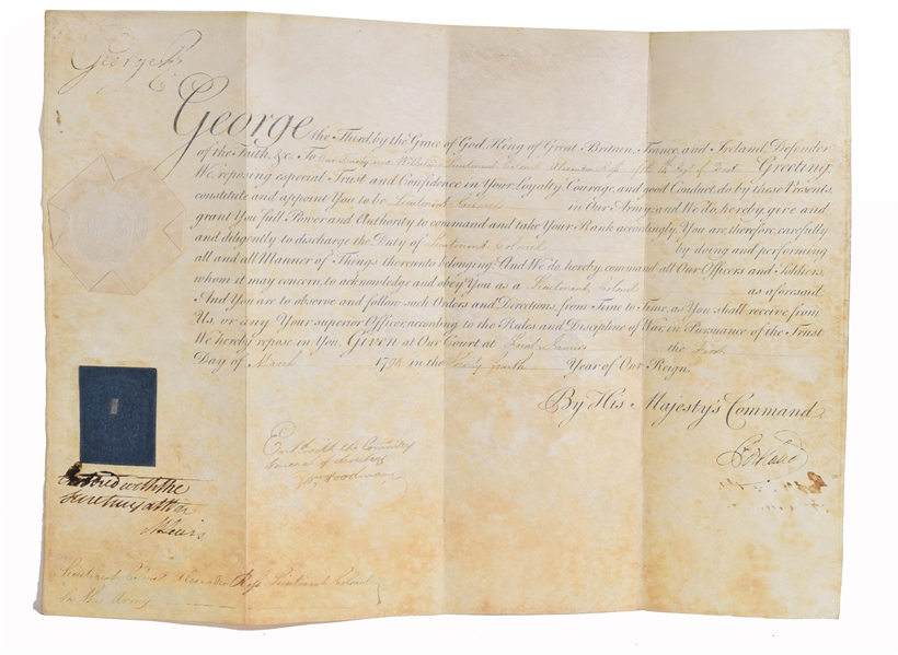 King George III Signed Appointment