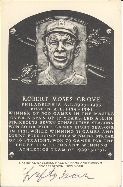 1953 Lefty Grove Signed Artvue Hall of Fame Plaque Postcard