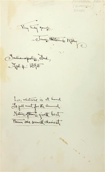 James Whitcomb Riley Handwritten Poem Signed