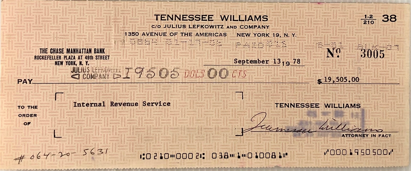 Tenenessee Williams Pays his Taxes