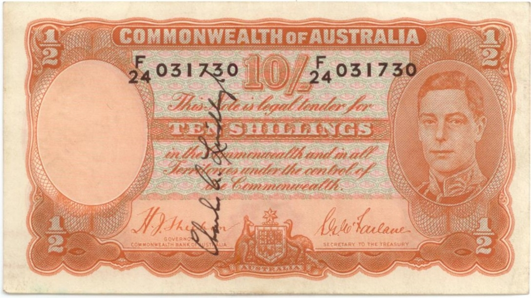 Charles Lindbergh Signed 10 Shilling Australian Note