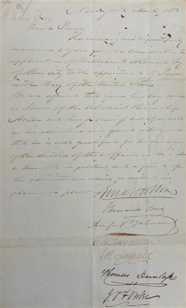 NEW YORK DEMOCRATS WRITE TO PRESIDENT FRANKLIN PIERCE NOMINATING A PURSER IN THE NAVY SIGNED BY AUGUST BELMONT..
