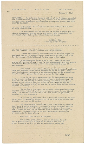 Harry S. Truman Signed Truman's inaugural address