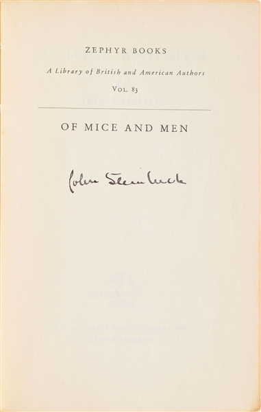 John Steinbeck Signed Classic