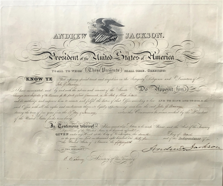 Andrew Jackson & Robert B. Taney Uncommon Signed Appointment