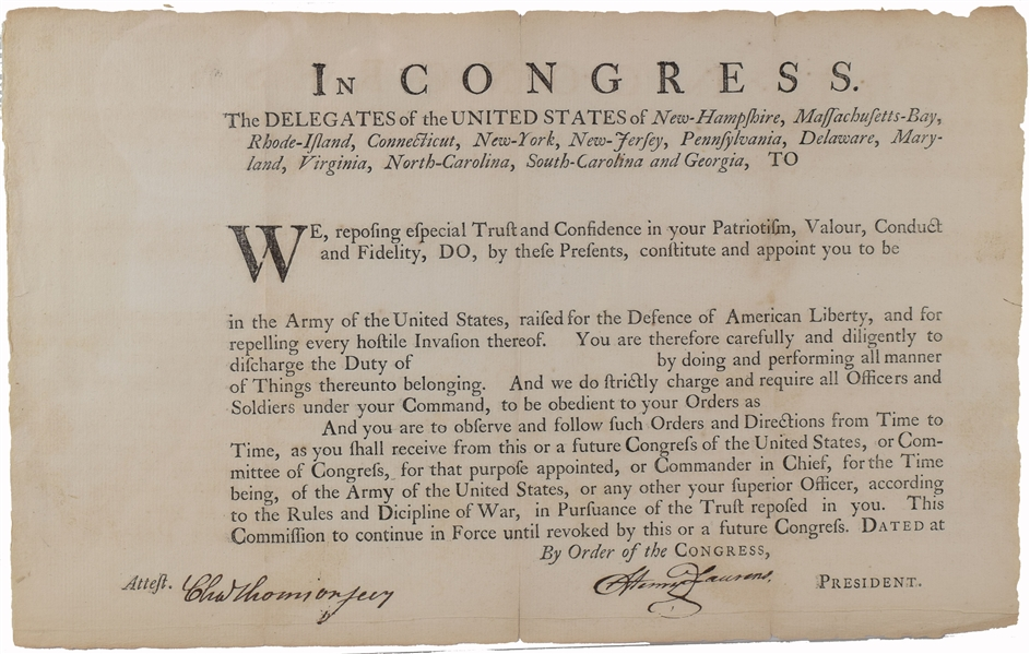 Henry Laurens Military Commission Signed As President of the Continental Congress