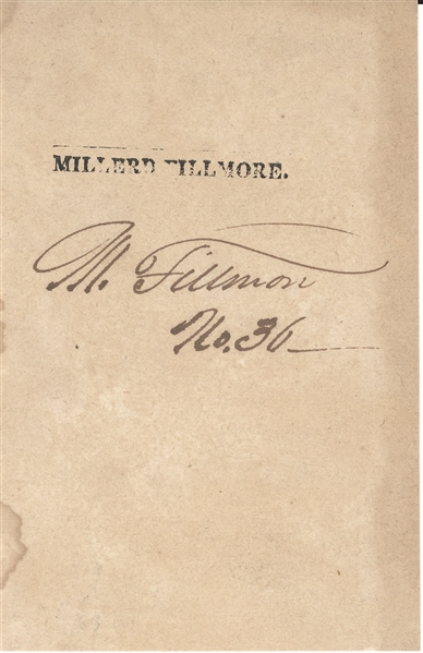 Millard Fillmore Signed Front leaf from Book secretarial signature