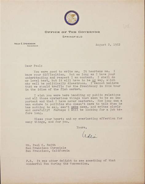 Adlai E. Stevenson Typed Letters Collection Important