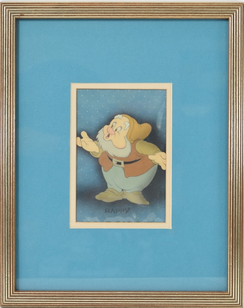 Rare original hand-painted animation cell depicting Happy form Snow White and the Seven Dwarfs