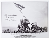 Flag raising on Iwo Jima Signed by last there Medal Of Honor Winners