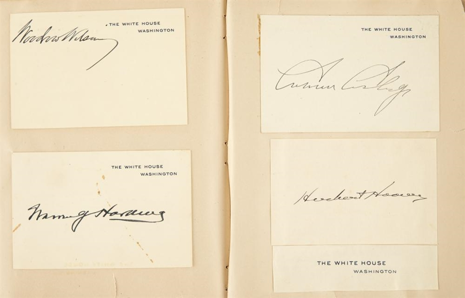 Autograph album containing the signatures of nine U.S. Presidents /Mark Twain and other notables. compiled 1880s-1930s.