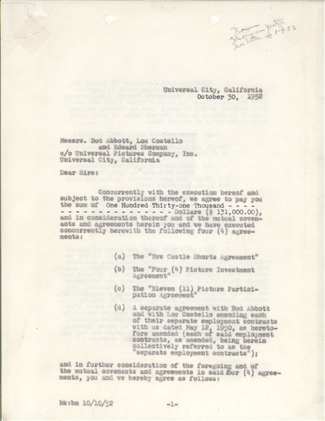 Abbott & Costello Legal Contract with Universal Pictures Company for $131,000
