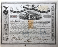 AMERICAN MERCHANTS UNION EXPRESS COMPANY Signed By William Fargo to James Fargo as Trustee.of New York