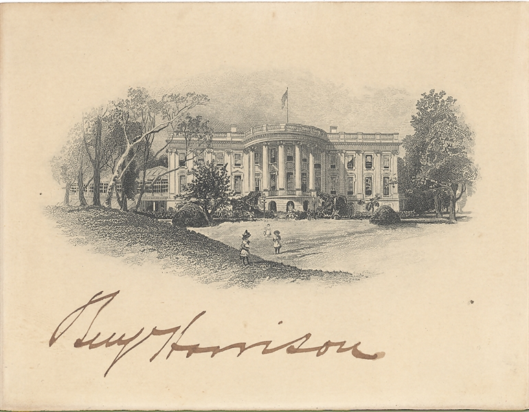 Benjamin Harrison Signed Deluxe White House Card Engraving